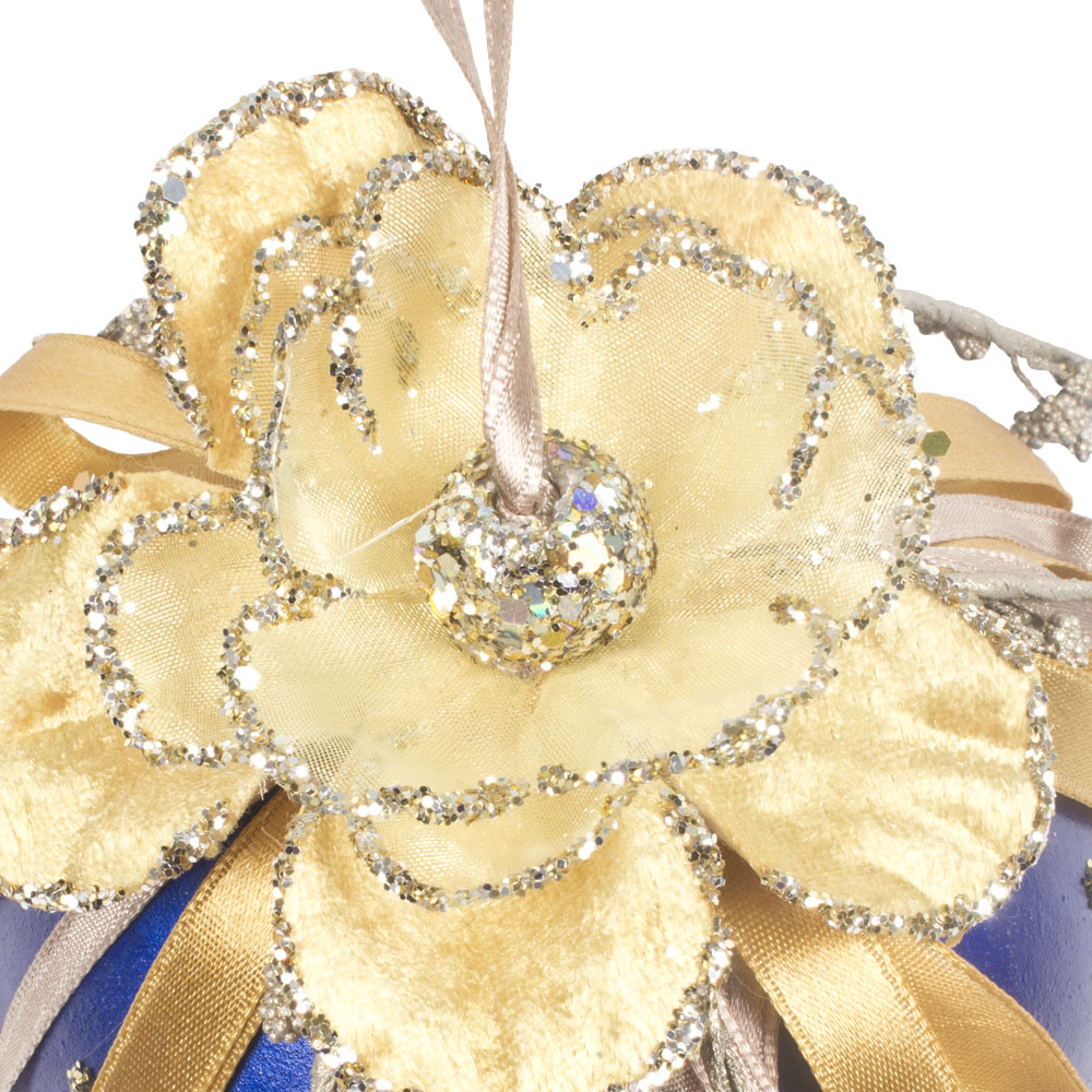 Decorative 100mm Bauble With Flower And Ribbon Detail - Blue & Gold
