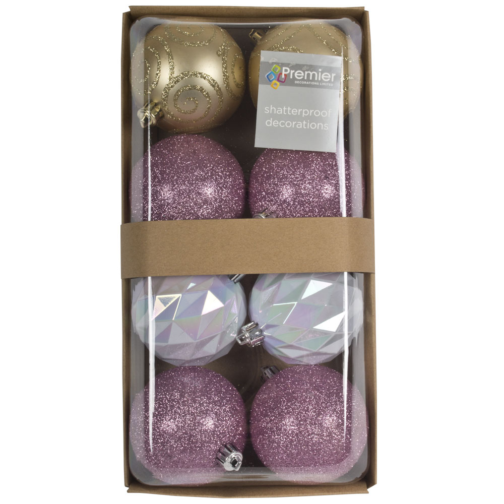 Pack Of Mixed Finish Pink, White Iridescent & Gold Shatterproof Baubles - 8 X 80mm