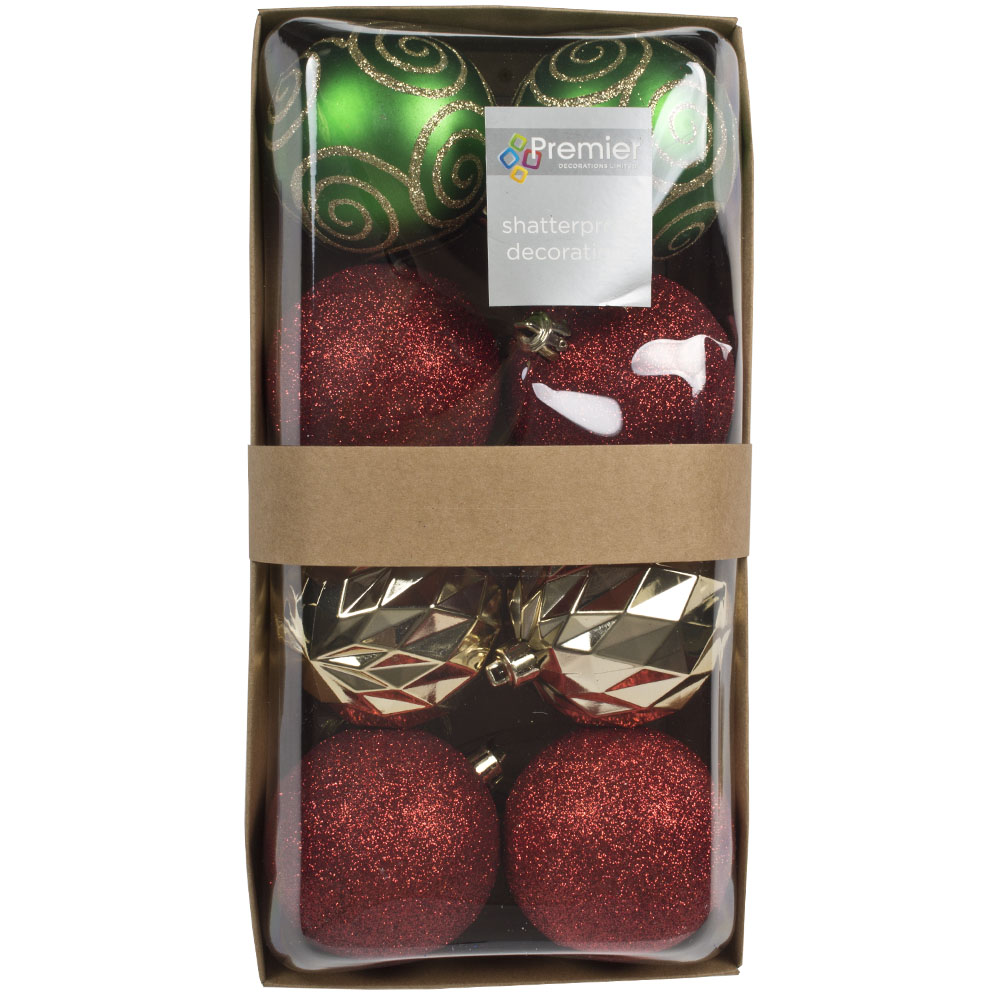 Pack Of Mixed Finish Red, Gold & Green Shatterproof Baubles - 8 X 80mm