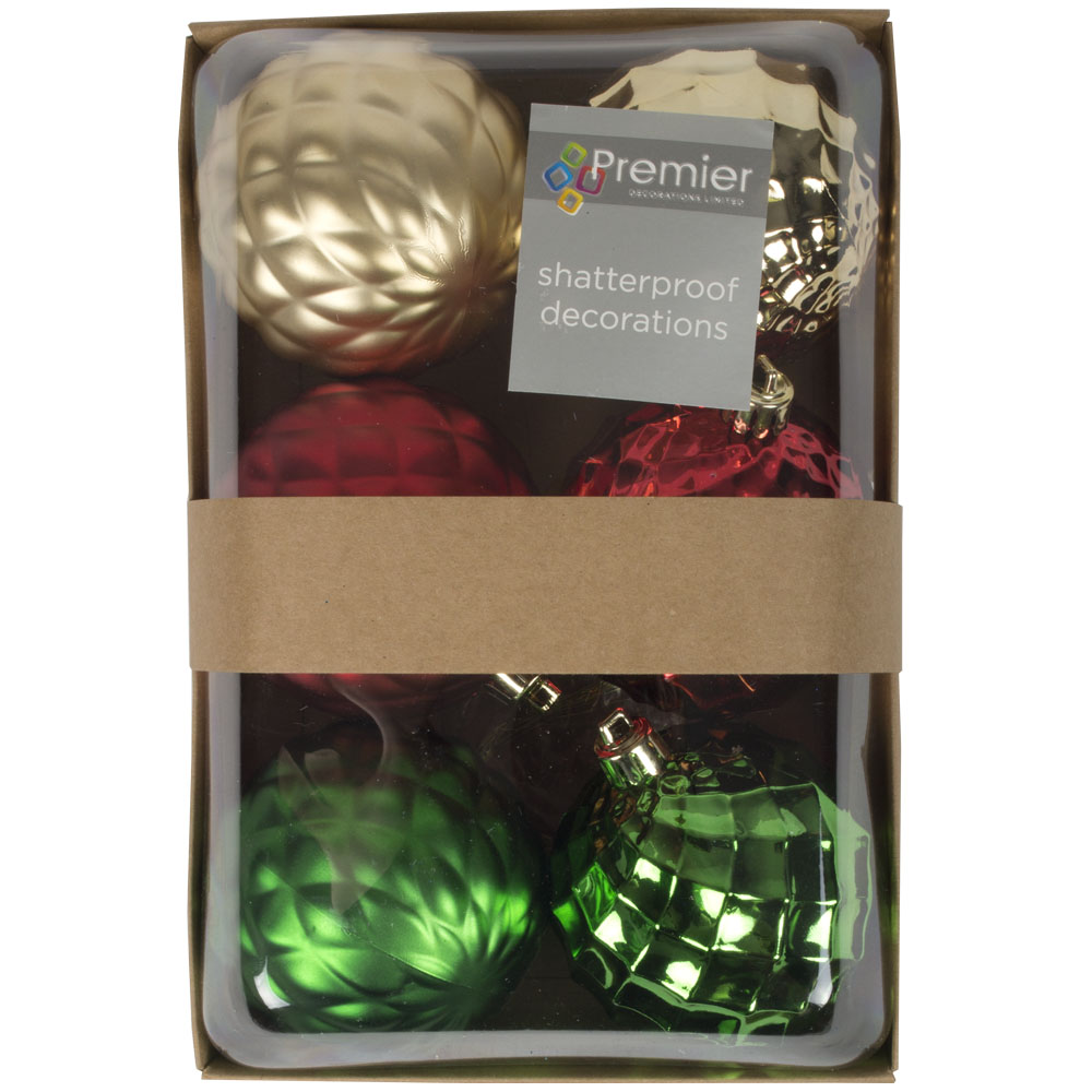 Pack Of Red, Gold & Green Quilted Shatterproof Baubles - 6 X 80mm