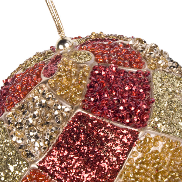Red & Gold Decorative Harlequin Beaded Ball - 10cm
