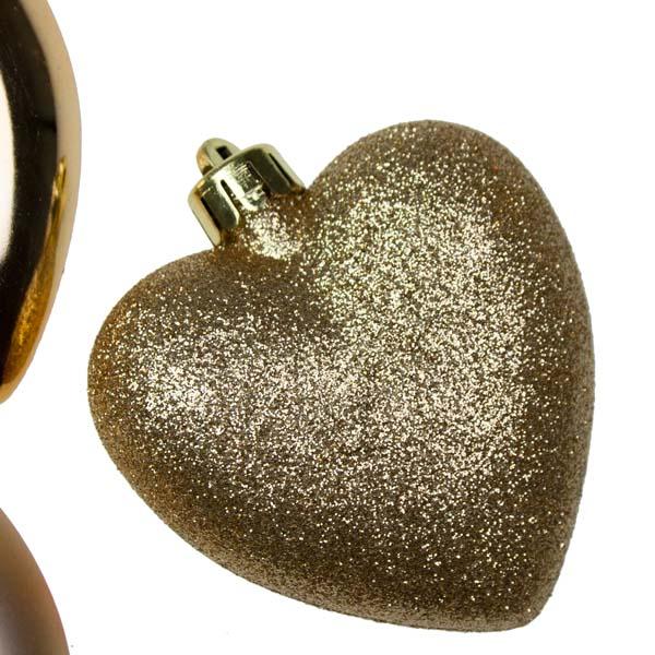 Gold Shatterproof Hearts Mixed Finish - 6 X 70mm