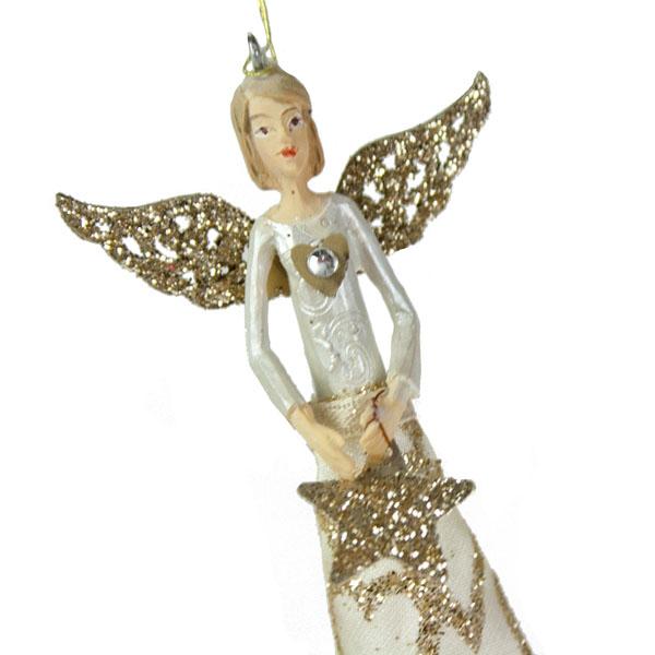 Gisela Graham Silent Night Angel With Heart - 12cm