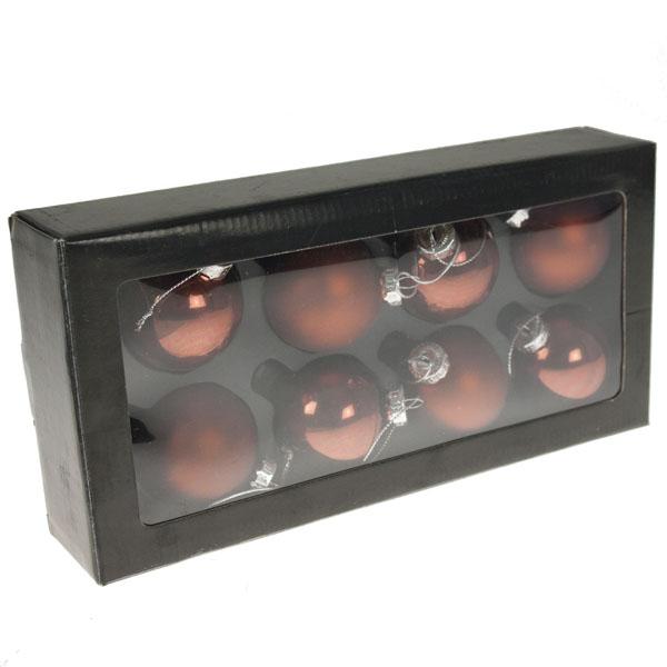 Matt & Shiny Copper Brown Glass Baubles - 8 x 50mm