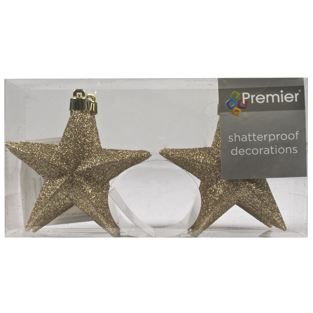 Pack Of 6 X 100mm Champagne Gold Shatterproof Star Hanging Decorations