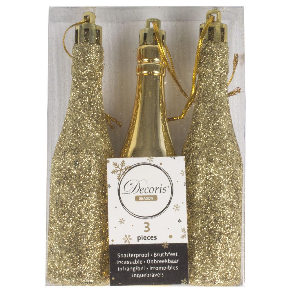 Pack Of 3 Gold Shatterproof Bottle Hanging Decorations - 2.5cm x 11xm