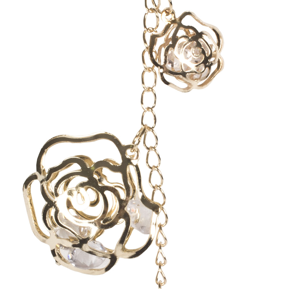 Gold Metal Rose Droplet Decoration With Acrylic Beads - 13cm