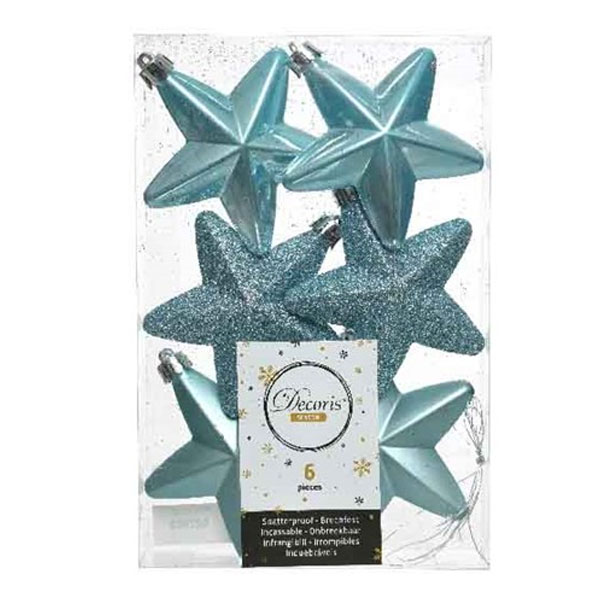 Pack Of 6 x 75mm Mixed Finish Shatterproof Star Hanging Decorations - Arctic Blue