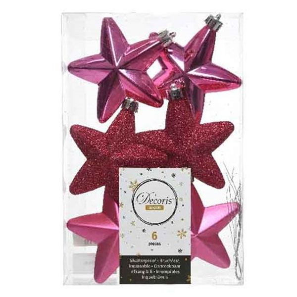 Pack Of 6 x 75mm Mixed Finish Shatterproof Star Hanging Decorations - Bubblegum Pink
