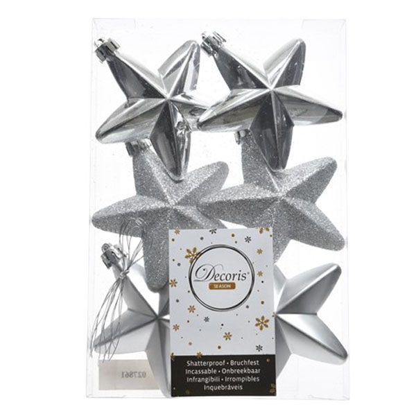 Pack Of 6 x 75mm Mixed Finish Shatterproof Star Hanging Decorations - Silver