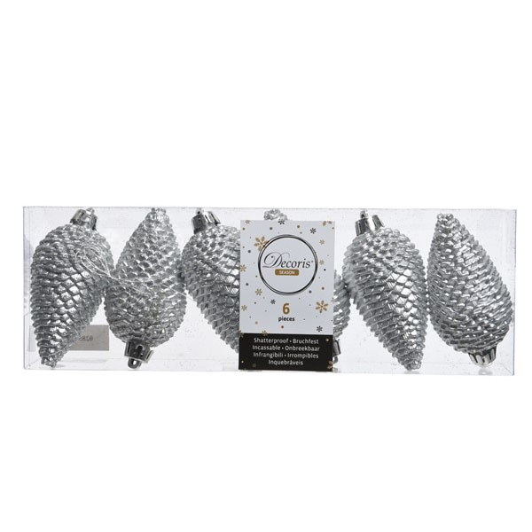 Pack Of 6 Silver Shatterproof Glitter Pinecone Decorations - 4.5cm X 8cm