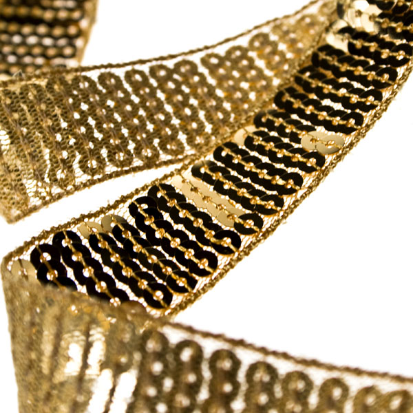 Roll Of Gold 2cm Wide Spangle Ribbon - 1.8m