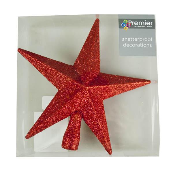 Red Glitter Finish Tree Top Star -20cm