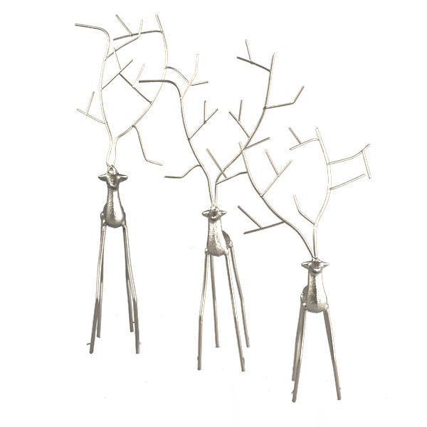 Set Of 3 Contemporary Silver Metal Reindeer Ornaments