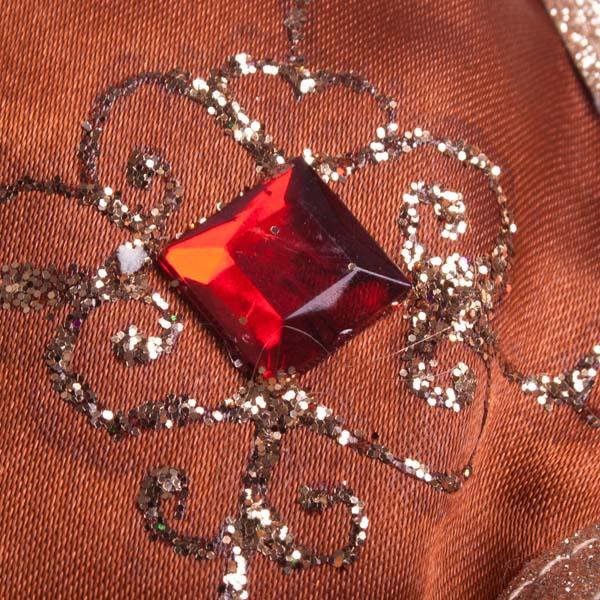 Red & Bronze Fabric Stocking - 30cm X 46cm