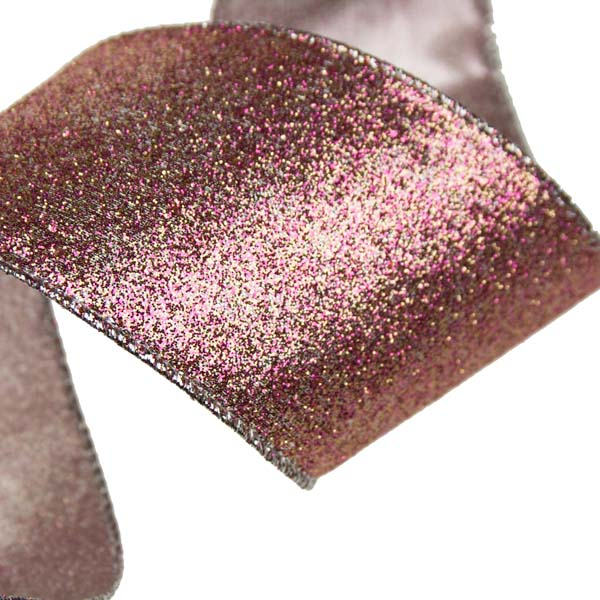 Gisela Graham Pale Pink Sparkle Ribbon - 63mm x 3m