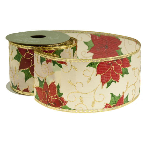 Poinsettia Christmas Ribbon - 6cm x 2.7m