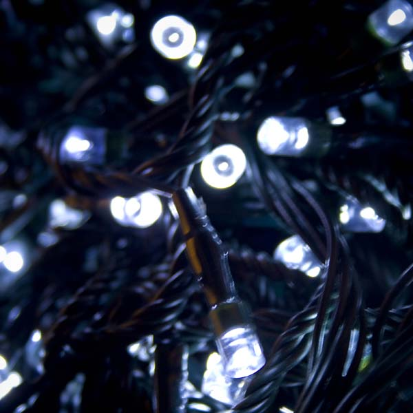 38.3m Length Of 480 White Multi Action Outdoor Premier Supabrights LED Fairy Lights Green Cable