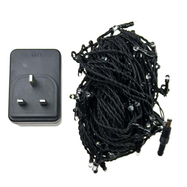 Konstsmide 11.85m Length Of 80 White Indoor and Outdoor Static LED Fairy Lights Black Cable