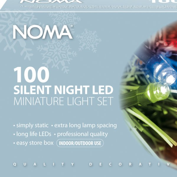 Noma 29.7m length of 100 Multi coloured Static Indoor And Outdoor Silent Night LED Miniature Light Sets. Green Cable