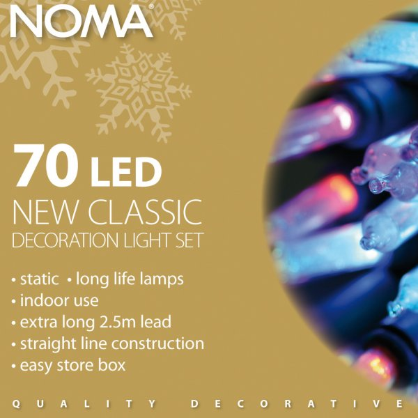 Noma 10.35m Length Of 70 Multi Coloured Indoor Static Classic LED Fairy Lights Green Cable
