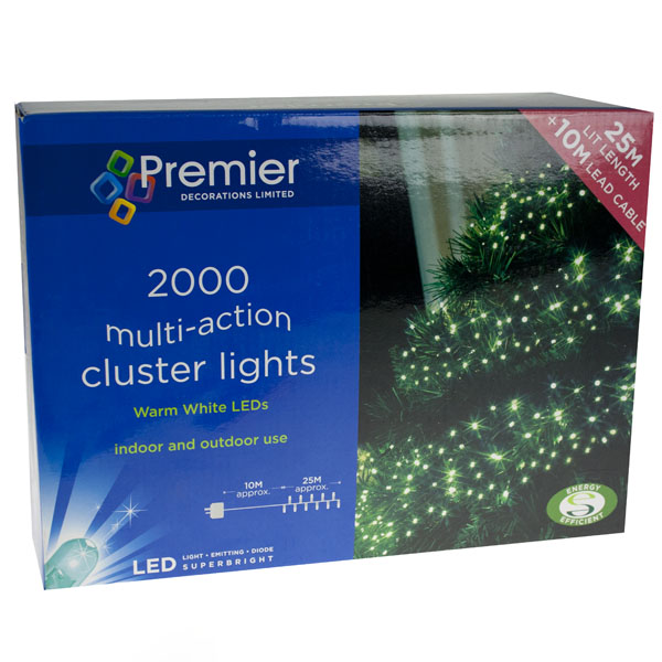 Premier 25m Length Of 2000 Indoor & Outdoor Multiaction Warm White LED Cluster Fairy Lights Green Cable