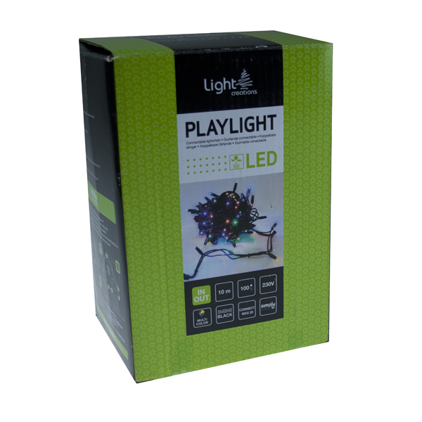 10m Length Of 100 Multicolour Outdoor Static Connectable Light Creations LED String Fairy Lights.Black Cable