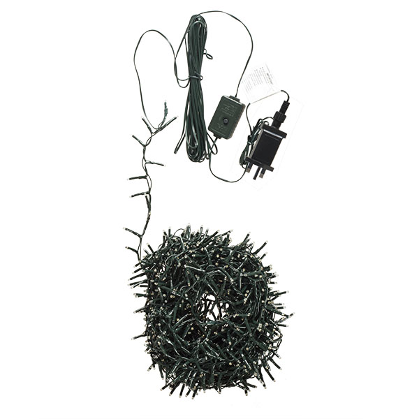 1500 Warm White With White Multi Action Outdoor Treebrights LED Fairy Lights On Green Cable