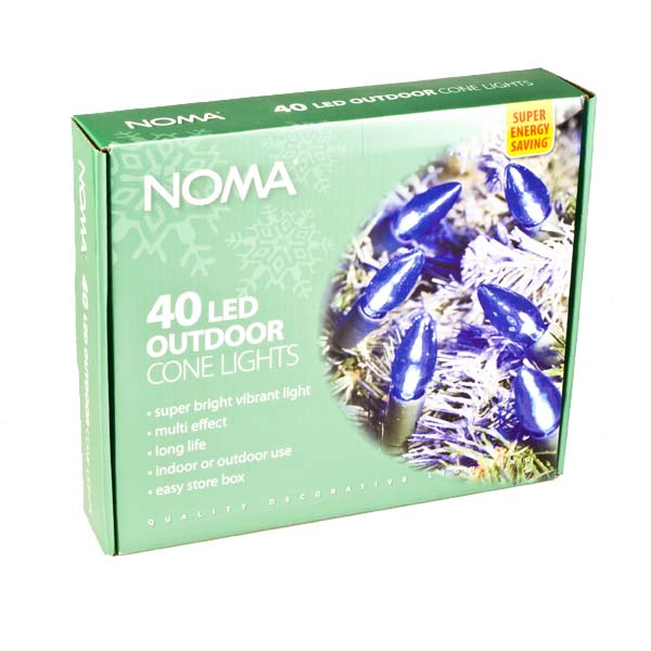 Noma 5.85m Length Of 40 Blue Indoor And Outdoor Multi Function LED Cone Fairy Lights Green Cable