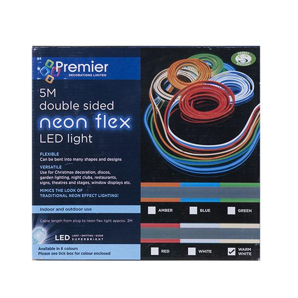 Warm White LED Double Sided Neon Flex - 5m (114-28381-WW)