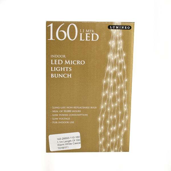 1.1m Length Of 160 Warm White Cascade Micro LED Fairy Lights - Silver Cable