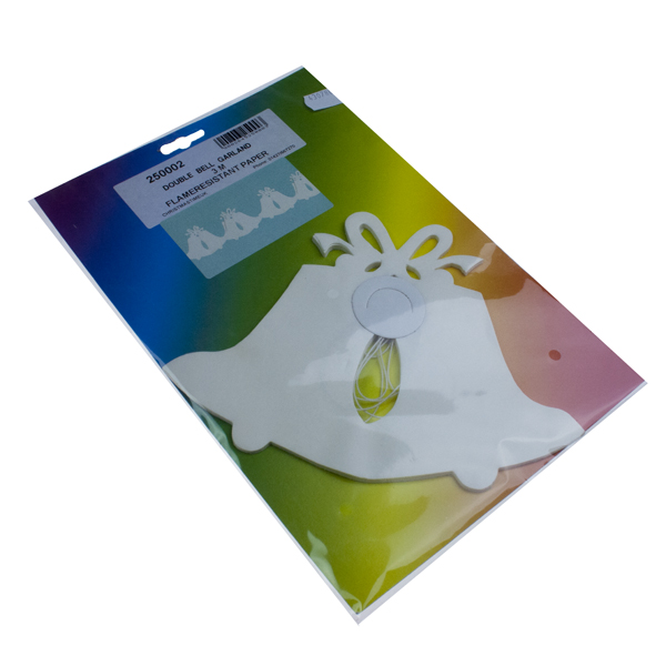 White Double Bell Flame Retardant Paper Garland