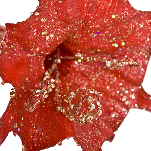 Red And Gold Hanging Trumpet Flower Decoration - 15cm