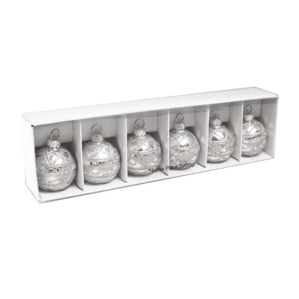 gisela graham silver bauble placecard holders 6 x 40mm