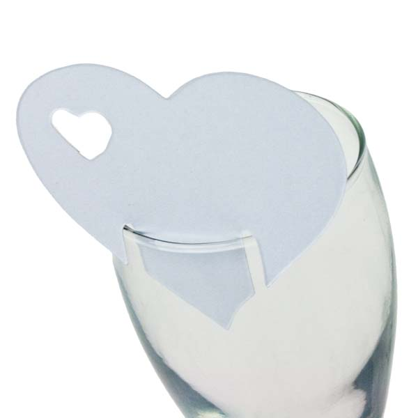 White Heart Place Cards - 10 Pack