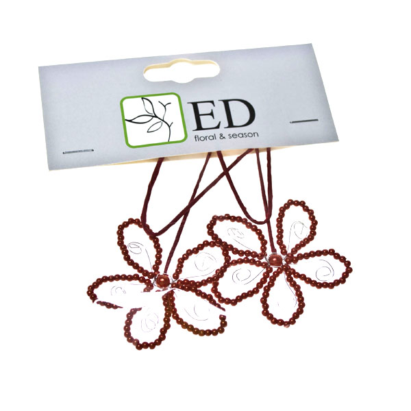 Red Beaded Pearl Flower Pick - 2 Pack