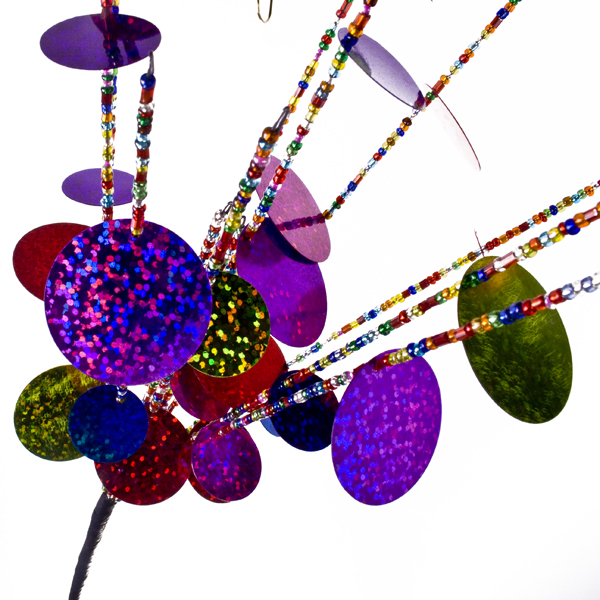Multicoloured Bead And Sequin Circus Pick - 48cm