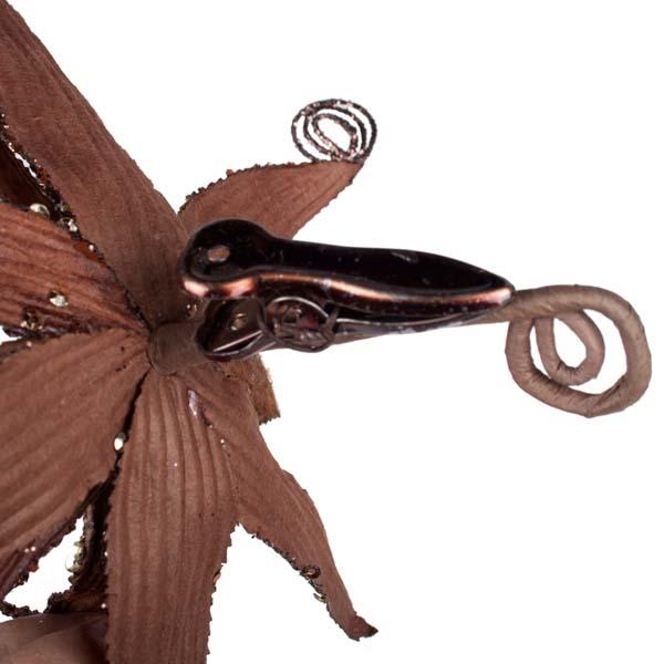 Brown Glitter Fern Flower On Clip - 17cm