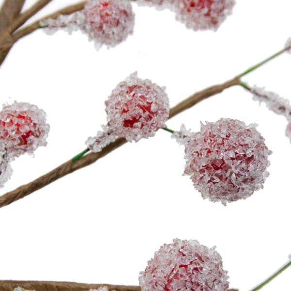 Red Frosted Berry Twig Spray - 50cm