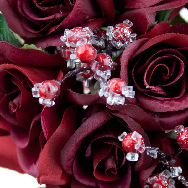 Burgundy Rose Bundle With Frosted Red Berries - 32cm