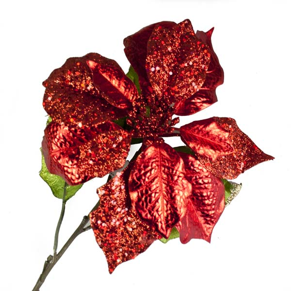 Red Poinsettia Spray - 72cm