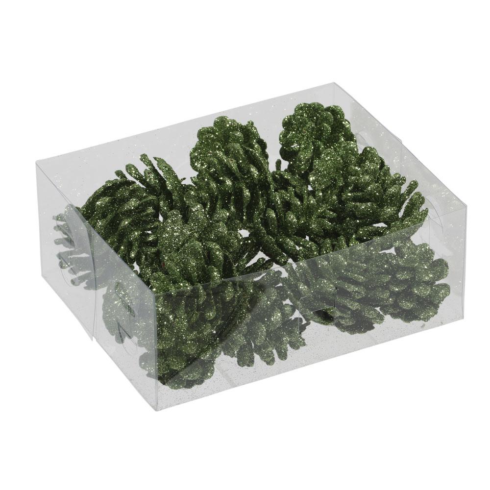Cedar Green Glitter Pine Cones - 24 X 4.5cm