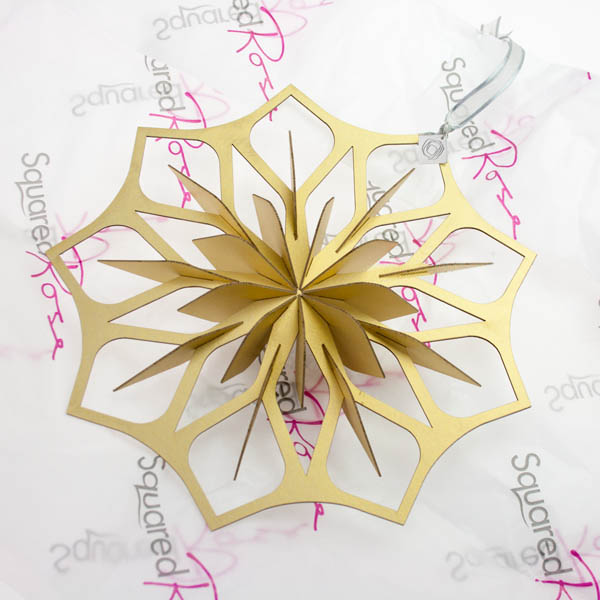 Squared Rose Starflake - Gold Card - 200mm x 200mm