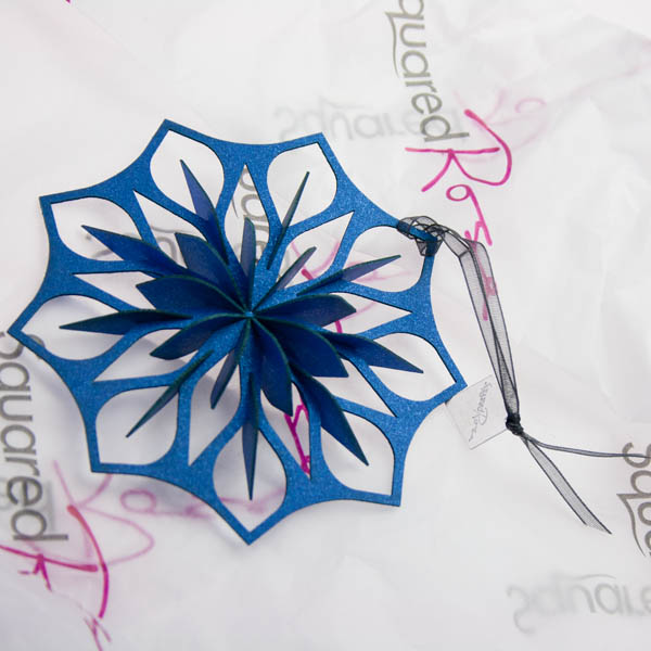 Squared Rose Starflake - Azure Card - 100mm x 100mm