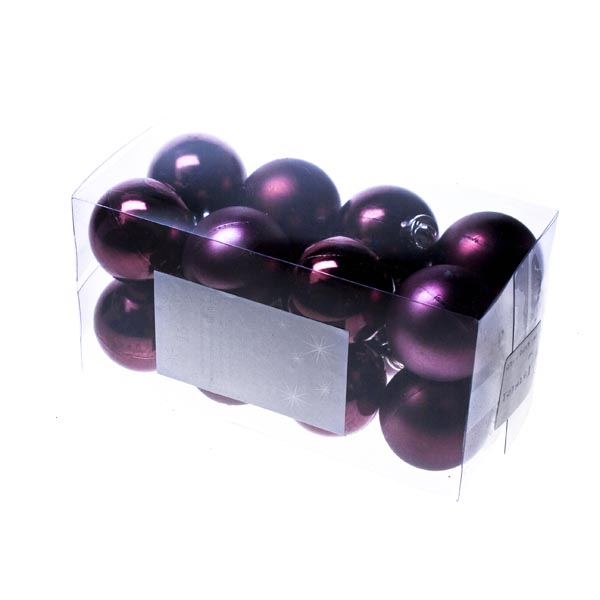 Mauve Baubles - Shatterproof - Pack of 16 x 40mm (021-01054-040-MV)