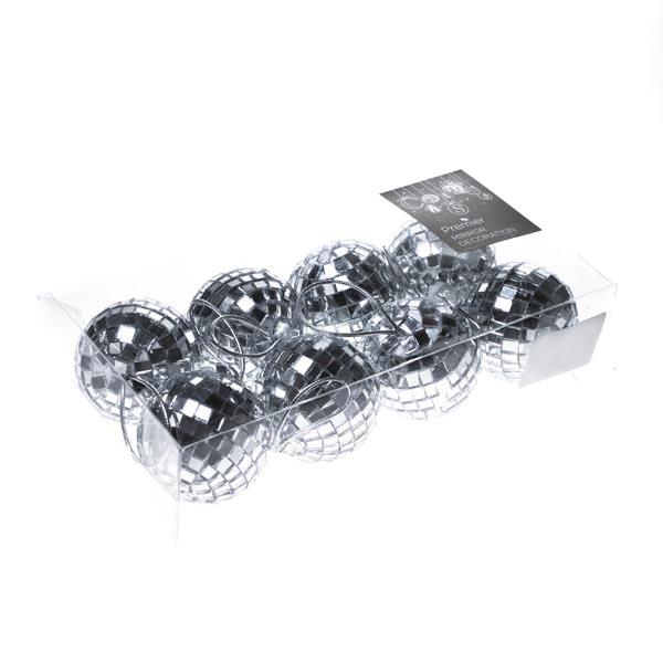 Shatterproof Silver Mirror Baubles - 8 x 50mm
