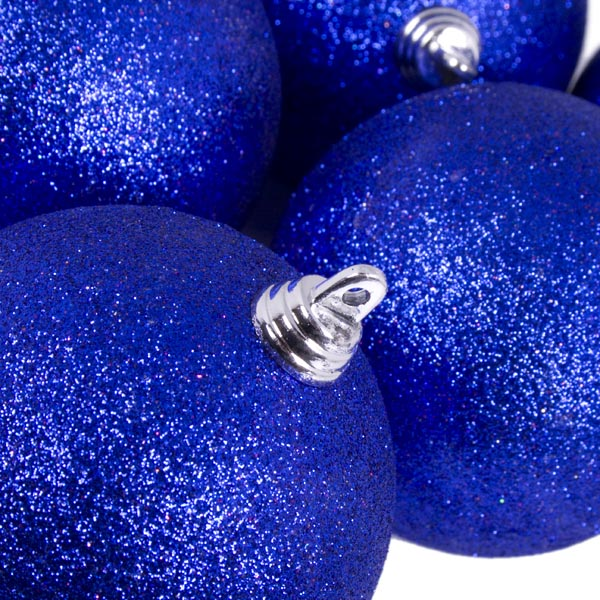 Xmas Baubles - Pack of 6 x 80mm Blue Glitter Shatterproof