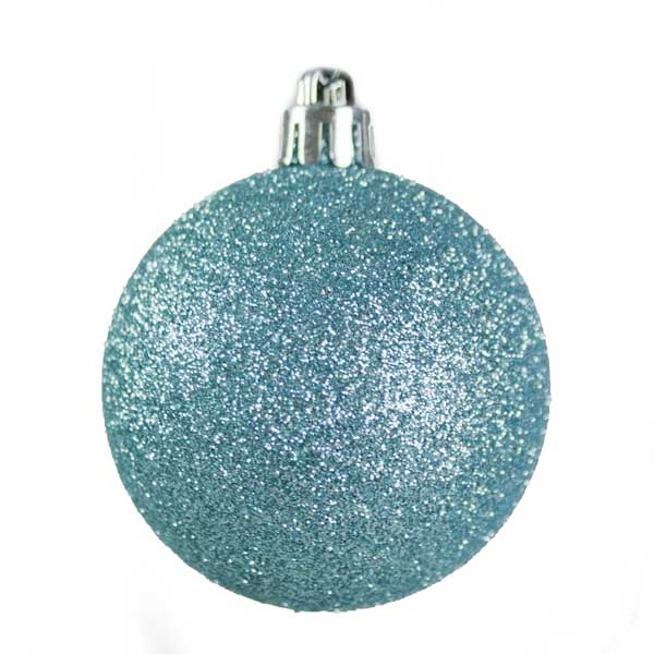 Ice Blue Mixed Finish Shatterproof Baubles - 24 X 60mm