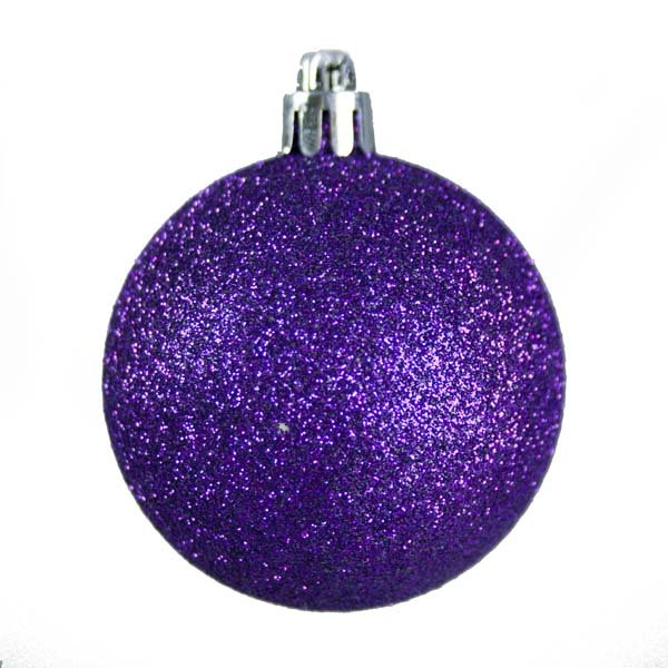 Purple Mixed Finish Shatterproof Baubles - 24 X 60mm