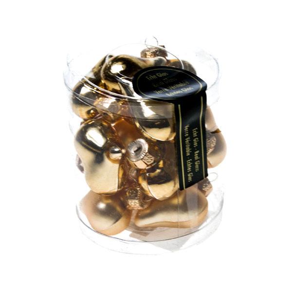 Light Gold Glass Hearts - 12 x 40mm
